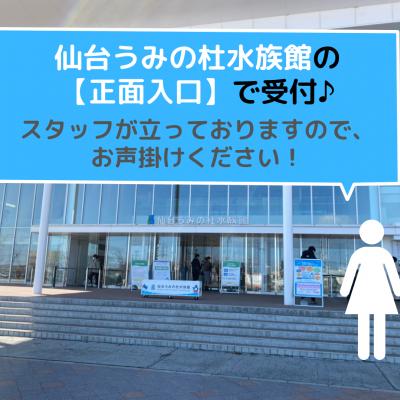 ★受付場所★ 仙台うみの杜水族館正面、入り口で街コンスタッフが受付を行ってるので、お声がけください!