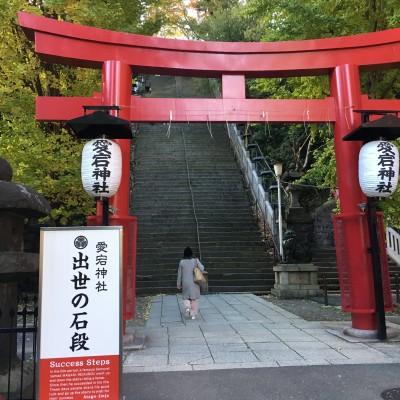 愛宕神社の出世階段を上ります。 エレベーターでの迂回ルートはございます。
